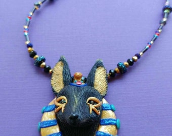 ON SALE Polymer clay Egyptian inspired Anubis necklace