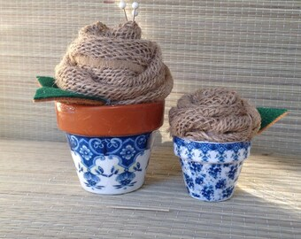 Mini Blue & White French Country Flower Pots with Burlap Roses, Pincushion, Wedding Decor, Farmhouse, Cottage, Gardener, Country Decor
