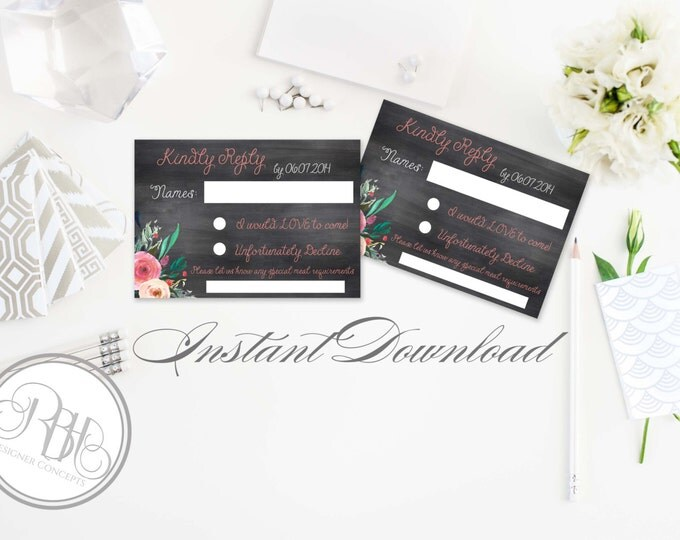 Rustic Chalkboard RSVP Card Reply Template-INSTANT DOWNLOAD pdf Text Editable Only - chalkboard watercolor flowers- Reply Card-Teresa