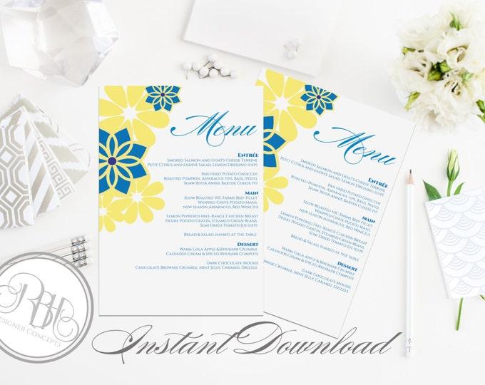 """Hawaiian Menu wedding Template - INSTANT DOWNLOAD- DIY Text Editable-Hawaiian Yellow & Blue Floral Swirl-""""Victoria"""""""