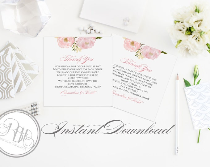 "Rustic Thank You Card-INSTANT DOWNLOAD-DIY Editable Text-Rustic with Watercolour Pastel Roses & Peonies-""Juliet"""