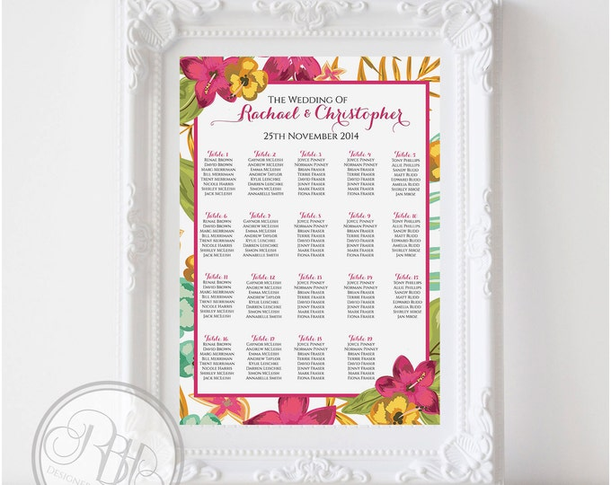 "Tropical Wedding Seating Chart - Beach-Tropical Island Hibiscus - Digital Files Provided DIY Printable ""Matilda Seating Chart"""