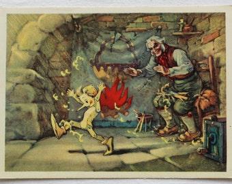 "Illustrator Vladimirsky. Vintage Soviet Postcard ""The Golden Key"" Tolstoy - 1957. Izogiz Publ. Pinocchio, Man, Doll, Wooden, Workshop"