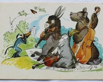 """Illustrators Alexeev, Stroganova. Vintage Soviet Postcard """"Quartet"""" Fable of Krylov - 1960s. Sovetskiy hudozhnik. Donkey, Goat, Bear, Monkey"""