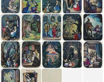 Snow White and Rose Red. Brothers Grimm. Set of 16 Vintage Soviet Postcards - 1973. Illustrator Narskaya. Izobrazitelnoe iskusstvo, Moscow