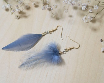 Beautiful Grey Feather Earrings with Matte Gold Ear Hooks + FREE shipping