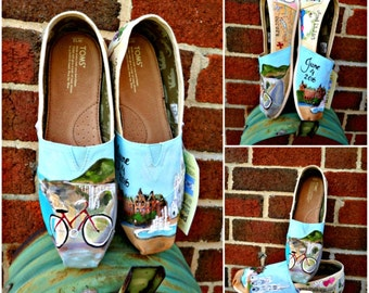 Bride's Love Story Shoes Wedding Flats Colorful Wedding TOMS Painted Wedding Shoes California Wedding Honeymoon Shoes Gift for the Bride