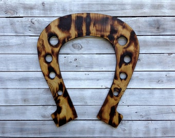 Outdoor Wall Decor, Lucky Horseshoe Art, Horse shoe wall Decoration, Natural Wooden sign, Housewarming gift, Wood burning decor.