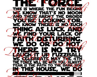 In This House.... We Do Star Wars wall decal ....E00260