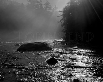 Swift River Sunrise-Black and White Photography, New Hampshire, Sunrise, Water, River, Trees, Mist