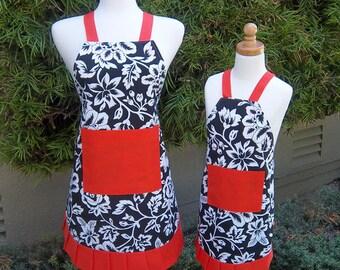 Mother Daughter Apron Set Handmade Vintage Style Apron Black Floral and Orange