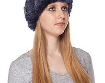 Blue fur Headband. Rex Rabbit Fur scarf elastic.
