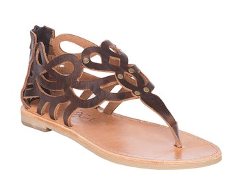 Brown leather sandals.FREE SHIPPING in the USA, Handmade leather sandals for Women,Greek sandals, Gladiator style - Nemesis