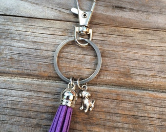 Dog Tassel Keychain, Puppy keychain, keychain, purse keychain, stocking stuffer, gifts for her