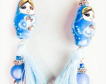 MATRYOSHKKA EARRING, Matryoshka doll, Matryoshka jewelry, Russian doll, Russian earring, blue tassel, blue doll, wooden bead, - 1650+