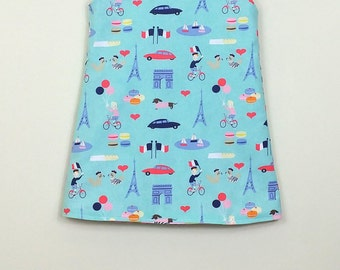 """Size 3 -Fully Reversible - """"Alexandra Dress""""  - Blue Paris with French seals in Pink on reverse"""