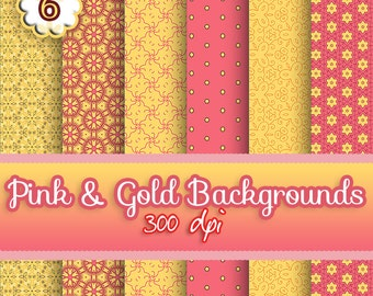 Digital Paper - 6 Pink 'n' Gold Digital Paper Backgrounds, Commercial Use