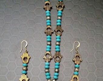 Hamsa Inspired Necklace & Earrings Set