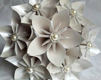 Paper Flower Origami Bridal Wedding Bouquet Neutral Pearl Ivory Kusudama