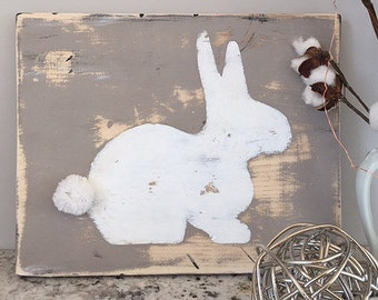 """Painted Bunny Wood Sign 14x11"""""""