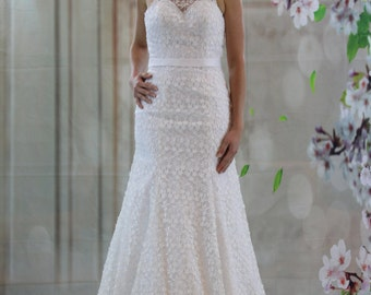 Elegant sweetheart high neck bridal gown, full lace modified A-line wedding dress