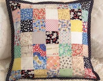 "Throw Pillow Cover, Vintage Postage Stamp Style, 49 Squares (2""), 1930s or 40s Reproduction Fabrics, 14 X 14"