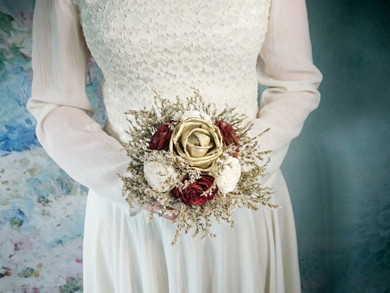 Small Burgundy Ivory Gold Rustic Wedding Bouquet By