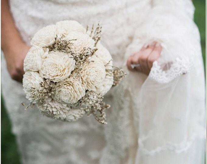 Medium cream rustic wedding BOUQUET, Ivory Flowers, dried limonium, Burlap Handle, Flower girl, Bridesmaids, bridal vintage custom