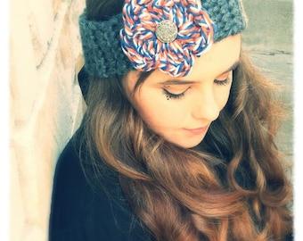 Colorful Gray and Teal Bordered Headband