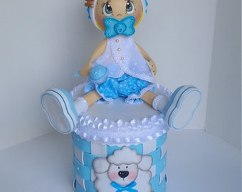 Baby shower centerpiece, Baby boy centerpiece, fofucha, Baby fofucha centerpiece