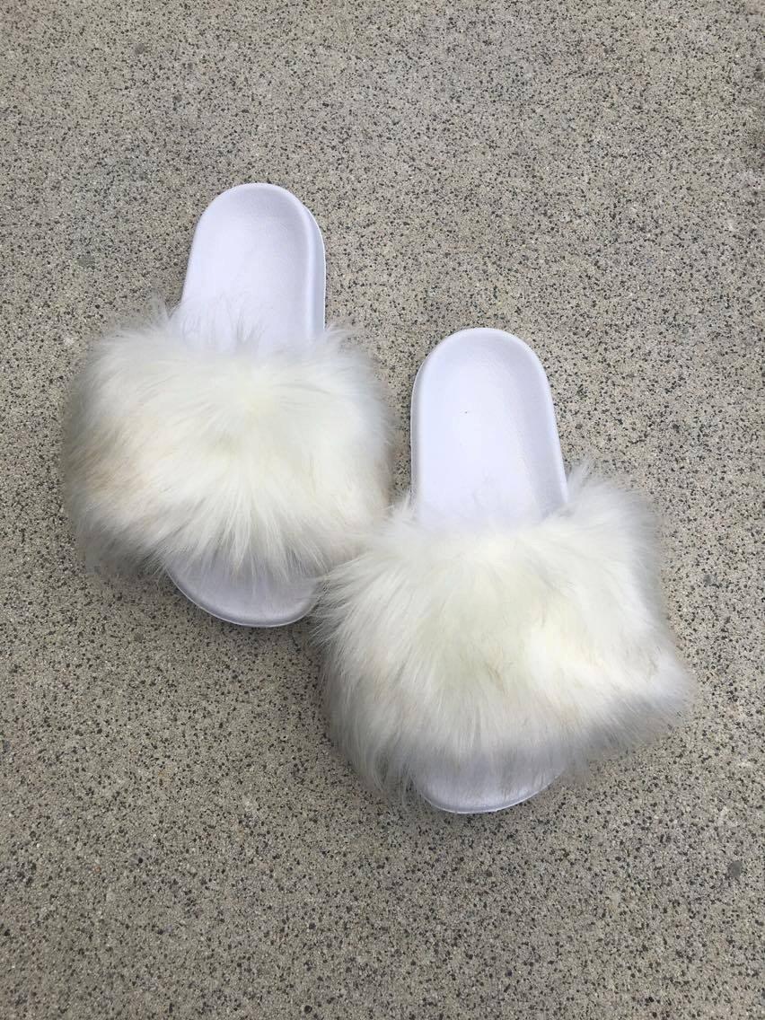 White Fluffy Slides