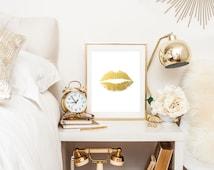 Lips Faux Gold Foil Print Wall Art  - 4x6,  5x7, 8x10, 11x14, 12x16, 13x19  Print - Artwork - Gold leaf