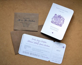 SAMPLE ONLY - Wedding Invitation - Personalised Destination Passport & Boarding Pass -  Kraft DL + C7 Envelopes (Rsvp Return addressed)