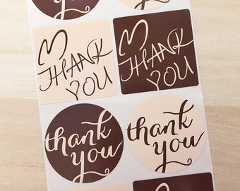 Thank You Round / Square Stickers - Brown (2 Sheets / 16 pcs) Paper Stickers Party Favor Labels P0299