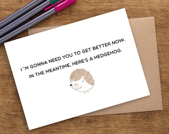 Funny Get Well Card, Get Well Soon Card, Feel Better Card, Get Well Soon Gift, Funny Get Well Gift, Hedgehog Card, Humorous Greeting Card