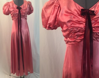 Xs ** 1930s PINK liquid satin gown ** vintage thirties balloon sleeve dress