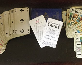 A truly Nostalgic Set of Grimauld Vintage French Tarot Cards .............Full Used  Set!