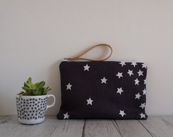 Handprinted fabric wrist bag with white stars on fabric color purple, clutch bag, small bag