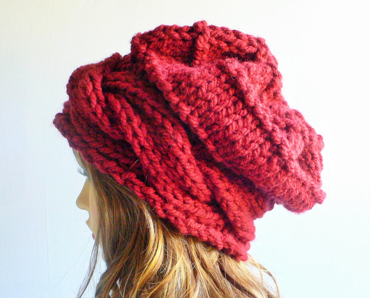 Red Knit Hat Knit Hat Women Red Hat Cable Knit Beanie
