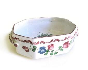 Antique French Footed Planter, Porcelain Jardiniere, Bannette, Flower Pot, Faienceries de l'Est, Earthenware, 18th