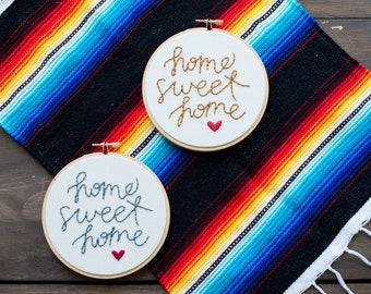 Embroidery Quote Hoop Art - Home Sweet Home Embroidery Art in 5 inch Hoop - Home Decor - Wall Hanging - Housewarming