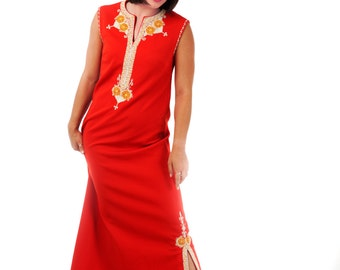 MASKIT Original, Gorgeous Fire-Red kaftan, Galabiya Unique, Historical Ethnic Elegance, Boho 80s Dress, Tribal Embroidered Dress, Fall dress