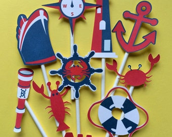 Nautical cupcake toppers, 10 Nautical toppers, nautical party cupcake toppers, anchor cupcake toppers, anchor, helm, life saver, boat
