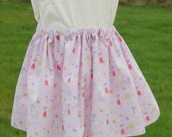 Girls twirly skirt in cotton printed with unicorns