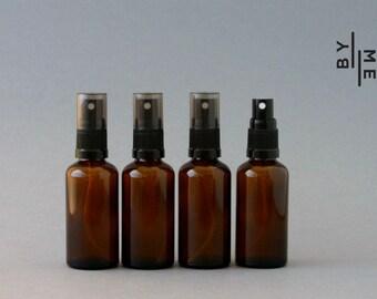 50ml Amber Glass Spray bottles with black fine mist sprayer (4 pack)