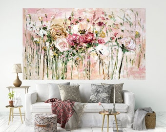 Large Original Painting Red White Gold Flower Art Print Giclee Canvas 200x100 Palette Knife Artwork Impasto Style Impressionist Painting