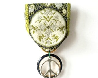Moonflower Peace Medal (Olive green, cream ribbon)
