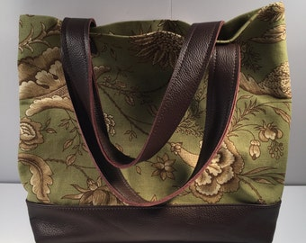 Leather bottom tote purse