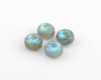 Big Hole Beads, Labradorite Smooth Gemstone Rondelle European Style Large Hole Beads For Necklace and Bracelet - 5 Pcs.