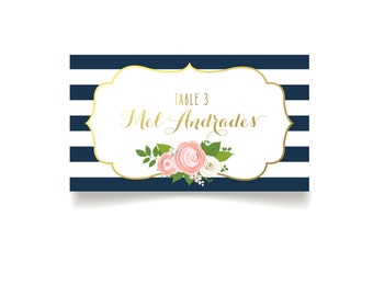 The Kelly . Escort Cards Navy Stripes & Gold Foil Calligraphy. Pink Peony Ranaculus White Rose Name Seating Place Card . PRINTED Tent Cards